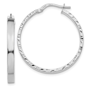 14K White Gold Diamond Cut Edge Large 3mm Polished Hoop Earrings