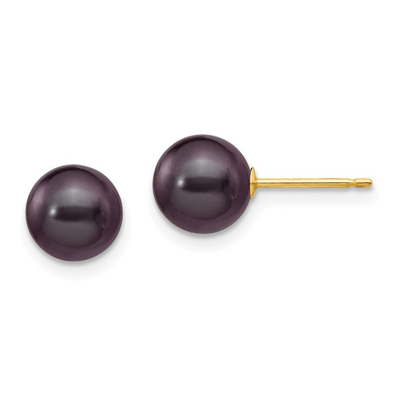 J.F. Kruse Signature Collection 14k 7-8mm Black Round Freshwater Cultured Pearl Stud Post Earrings