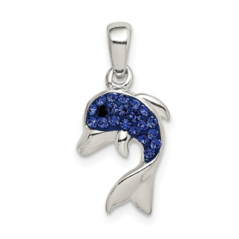 Quality Gold Sterling Silver Blue Preciosa Crystal Dolphin Pendant