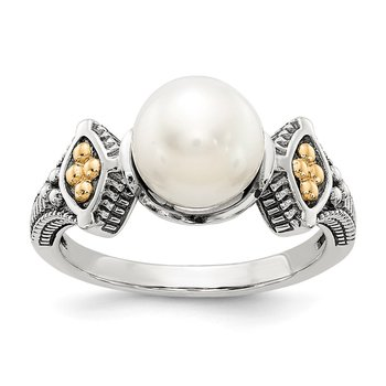 Sterling Silver w/14k 8-8.5mm FW Cultured Pearl Ring