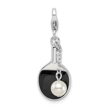 Sterling Silver RH w/Lobster Clasp Enamel Simulated Pearl Paddle Charm