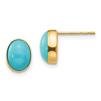 14k Madi K Bezel Set Oval Turquoise Post Earrings