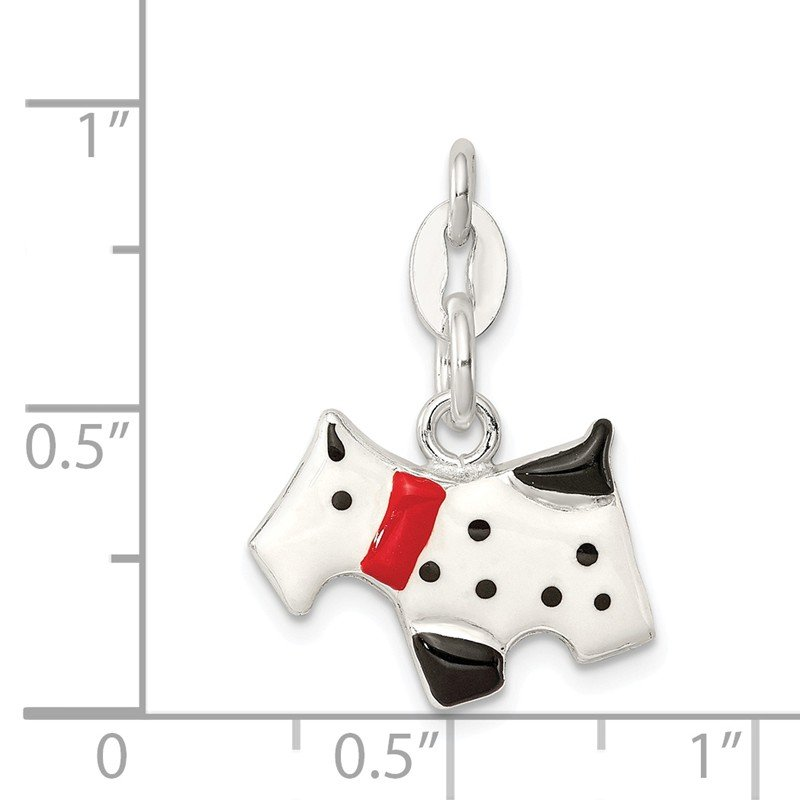 Quality Gold Sterling Silver Enameled Scottie Dog Charm