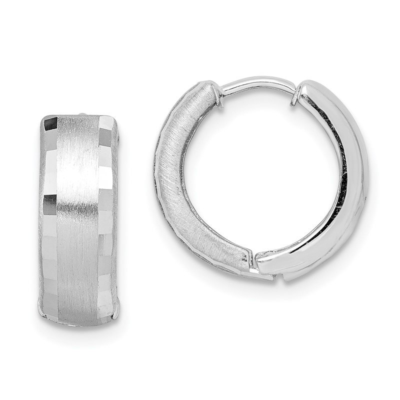 Fine Jewelry by JBD Sterling Silver Rhodium Brushed Patterned Hinged Hoop Earrings
