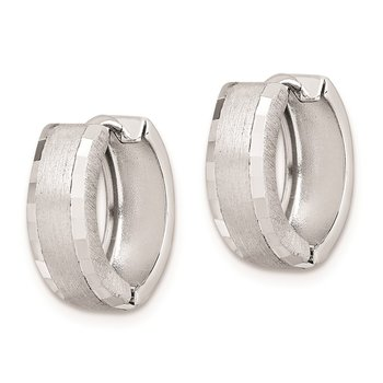 Sterling Silver Rhodium Brushed Patterned Hinged Hoop Earrings