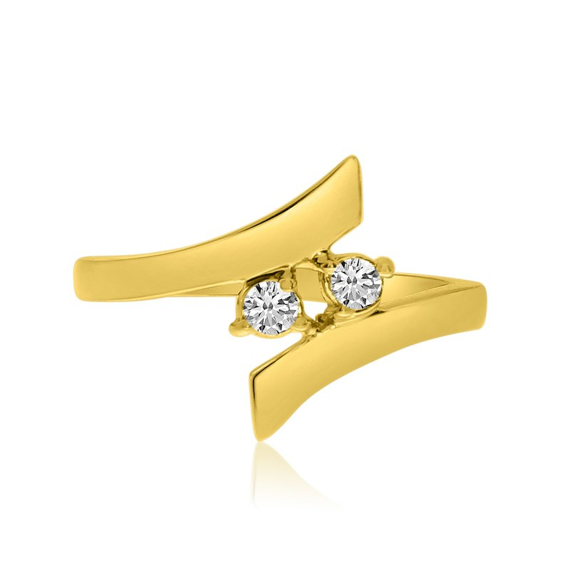 Color Merchants 14K Yellow Gold Two-Stone Bypass Diamond Ring