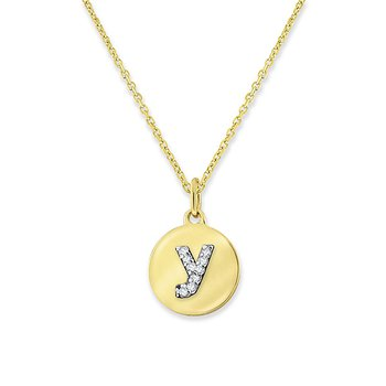 "Diamond Mini Disc Initial ""Y"" Necklace in 14k Yellow Gold with 9 Diamonds weighing .03ct tw."
