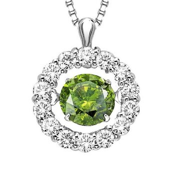 14K Diamond Rhythm Of Love Pendant 1 ctw ( 3/4 Ct Green Dia Center )
