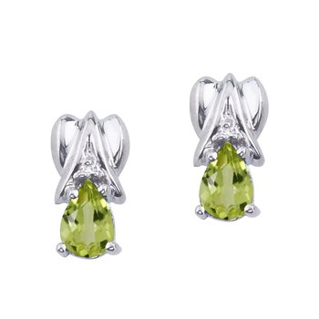 14k White Gold Peridot and Diamond Pear Shaped Earrings