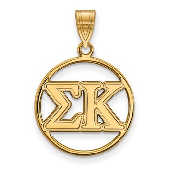Gold-Plated Sterling Silver Sigma Kappa Greek Life Pendant