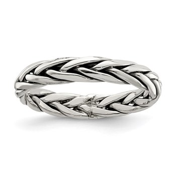 Sterling Silver Polished Antiqued Weaved 3.25mm Women's Ring