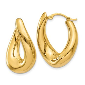 14k Twisted Oval Hoop Earrings