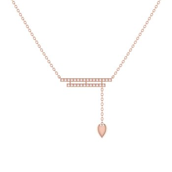 Wrecking Ball Lariat Necklace in 14 KT Rose Gold Vermeil on Sterling Silver
