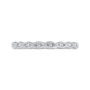 18K White Gold Diamond Wedding Band with Milgrain