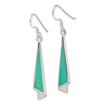 Sterling Silver Dangling Turquoise Earrings