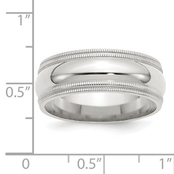 SS 8mm Comfort Fit Double Milgrain Size 10 Band