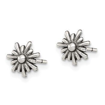 Sterling Silver Polished and Antiqued Flower Post Earrings