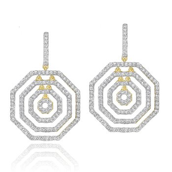 Yellow gold diamond Hero layer earrings
