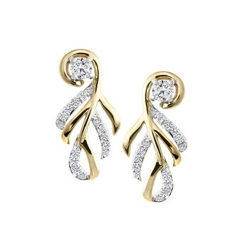 Abstract Foliage Diamond Earrings