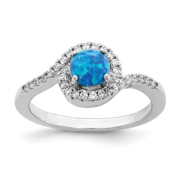Sterling Silver Rhodium-plated Created Blue Opal /CZ Halo Ring
