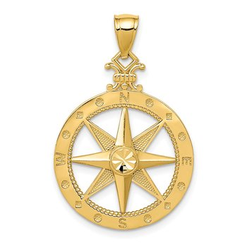 14k Diamond-cut Polished Compass Pendant