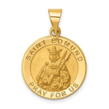 14k Hollow Polished/Satin Round St. Edmund Medal
