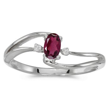 10k White Gold Oval Rhodolite Garnet And Diamond Wave Ring
