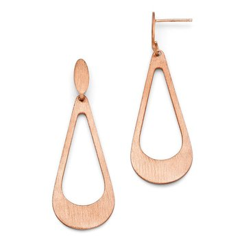 Leslie's Sterling Silver Rose Gold-plated Scratch Finish Post Earrings