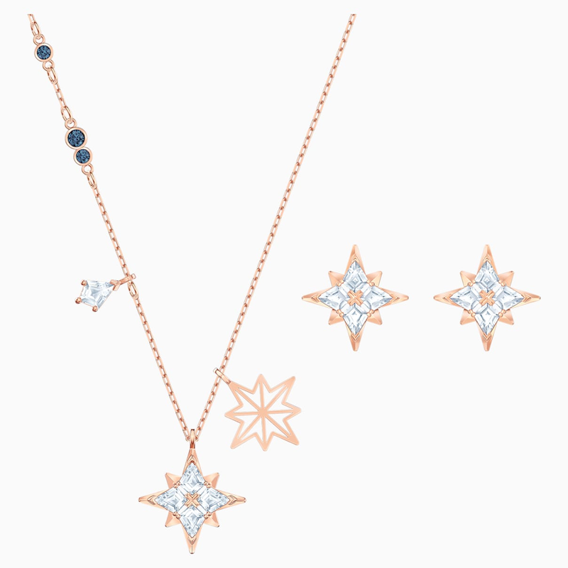 Swarovski Swarovski Symbolic Star Set, White, Rose-gold tone plated