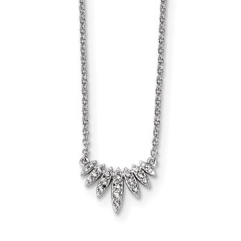 Sterling Silver Rhodium-plated CZ 18in Necklace