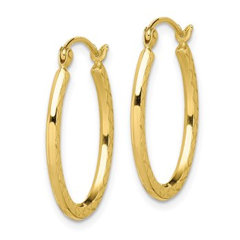 10K Textured Hollow Oval Hoop Earrings