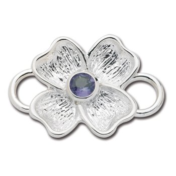 Sterling Silver Dogwood June Birthstone