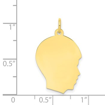 10K Plain Medium .013 Gauge Facing Right Engravable Boy Head Charm