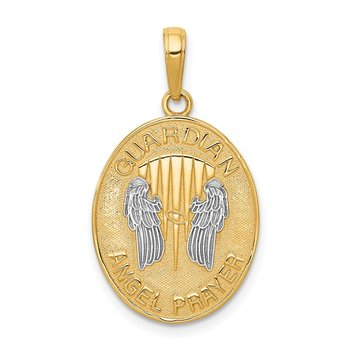 14K W/Rhodium Reversible Guardian Angel Prayer Pendant