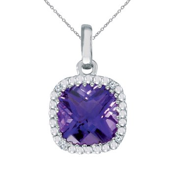 14k White Gold Cushion Cut Amethyst And Diamond pendant