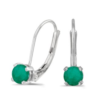 14k White Gold Round Emerald Lever-back Earrings