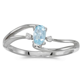 14k White Gold Oval Aquamarine And Diamond Wave Ring