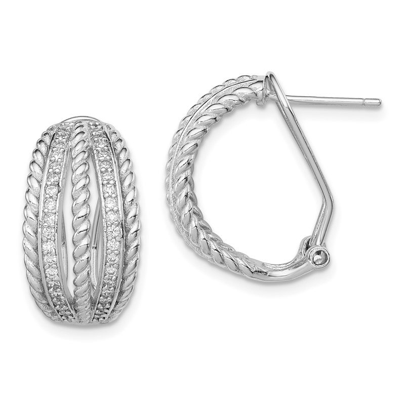 Quality Gold Sterling Silver Rhodium-plated CZ Rope Omega Back Earrings