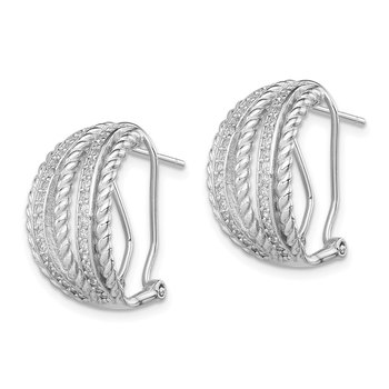 Sterling Silver Rhodium-plated CZ Rope Omega Back Earrings