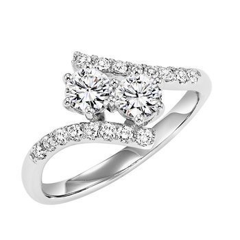 14K Diamond Two Stone Ring 1 ctw
