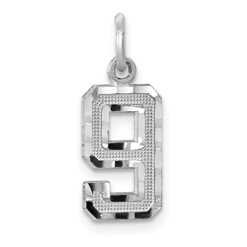 Quality Gold 14kw Casted Small Diamond Cut Number 9 Charm