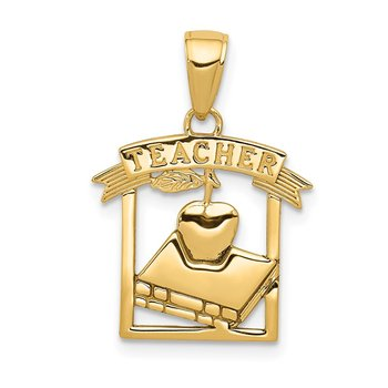 14k Polished Flat-Backed TEACHER Pendant