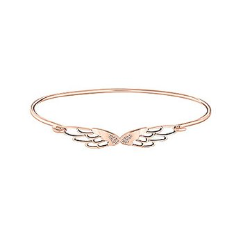 PAVE' WINGS Bangle Bracelet Med/Lg Swar White PB Zirconia SS, Rose Gold Electroplate