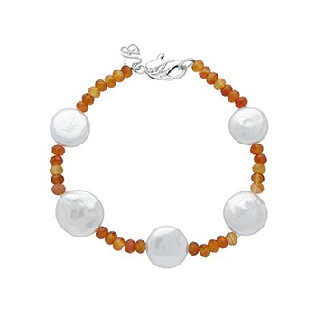 Honora Sterling Silver 12-13mm White Coin Freshwater Cultured Pearls with Orange Chalcedonyx Tin Cup Bracelet