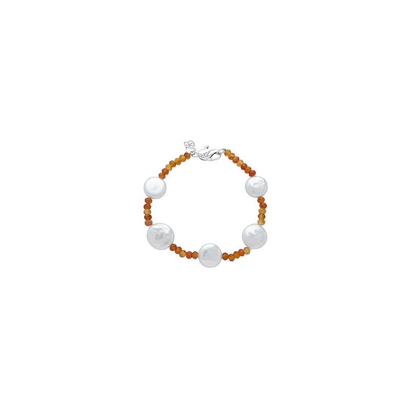 Honora Honora Sterling Silver 12-13mm White Coin Freshwater Cultured Pearls with Orange Chalcedonyx Tin Cup Bracelet