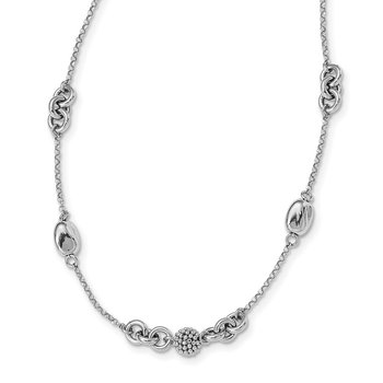 Sterling Silver Rhodium-plated Beaded Fancy Necklace