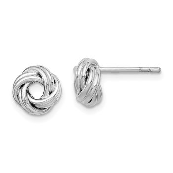 Sterling Silver Rhodium Plated Love Knot Post Earrings
