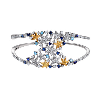 14K wide colorful cuff with 20 Sapphires 1.70CT & 254 Diamonds 1.72CT