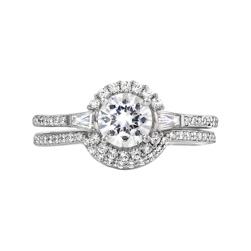 Rego Designs 14kt White Gold Diamond Halo Engagement Ring