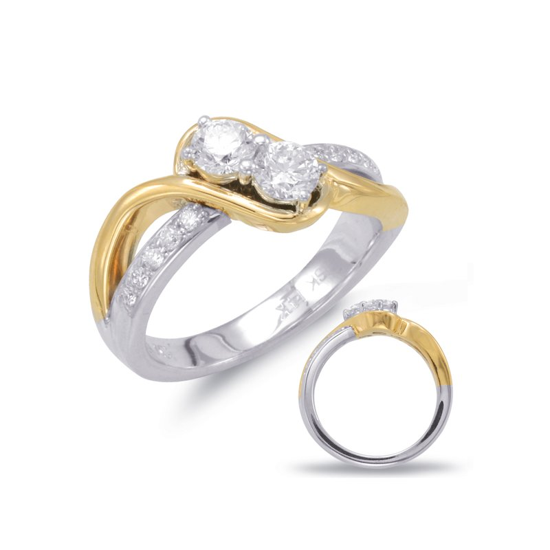 S. Kashi  & Sons White & Yellow Gold Two Stone Ring